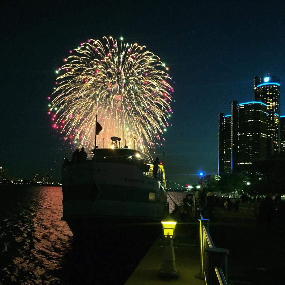 Celebrating with fireworks on one of Diamond Jack's cruise ships going down the Detroit River.