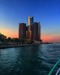 GM Renaissance Center at sunset from boat