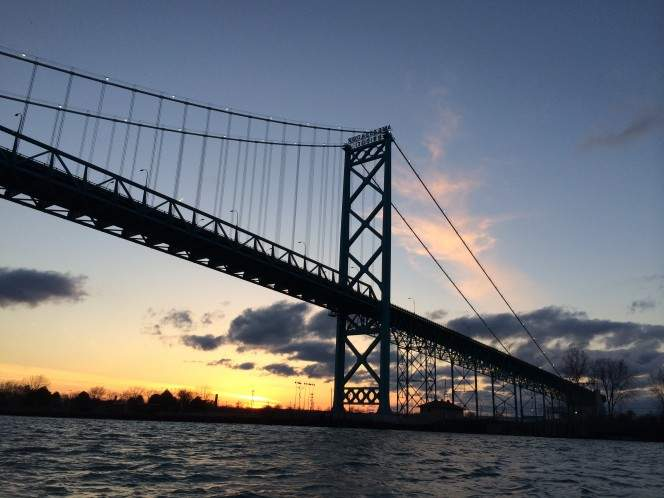 The Ambassador Bridge over the Detroit River