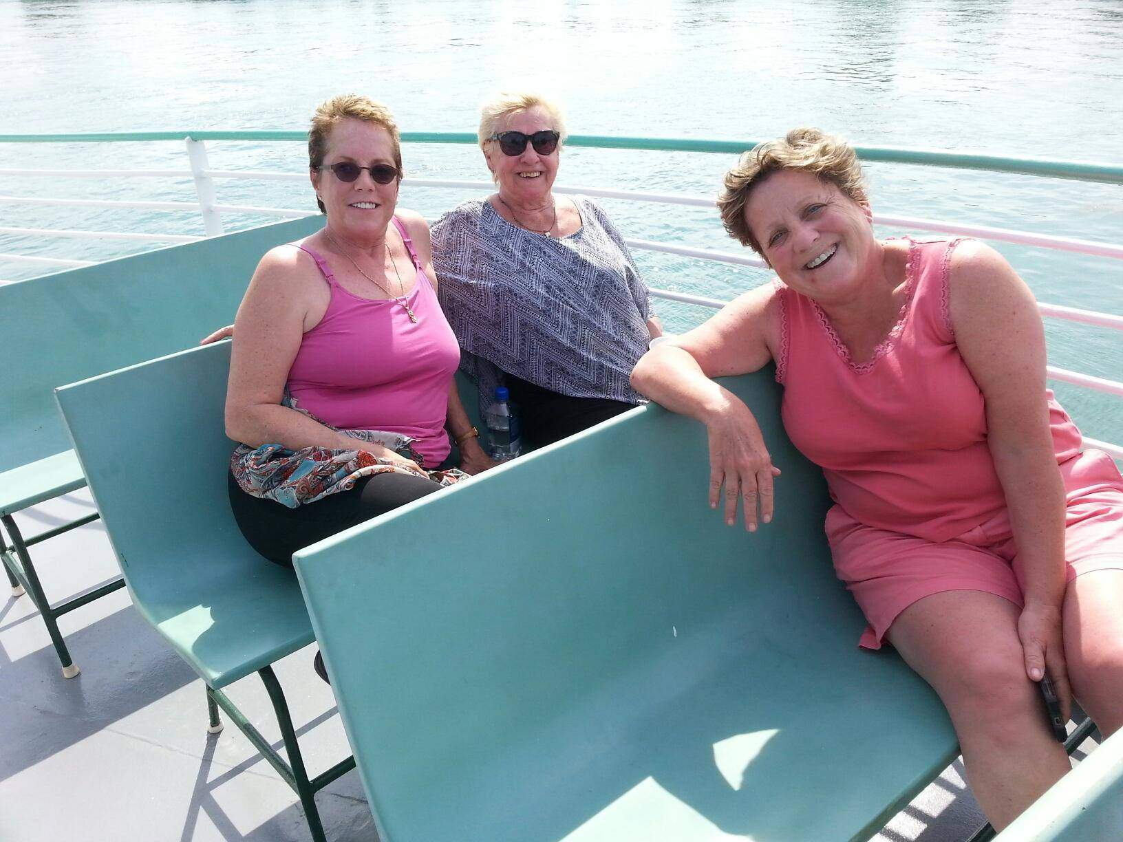 Three women on Diamond Jack boat ride