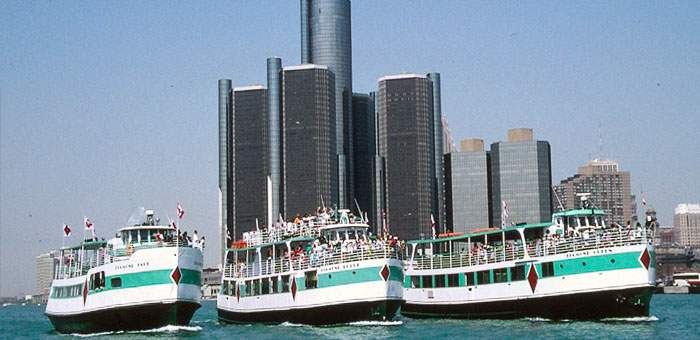 Three Diamond Jack Riverboats in front of the GM Renaissance Center