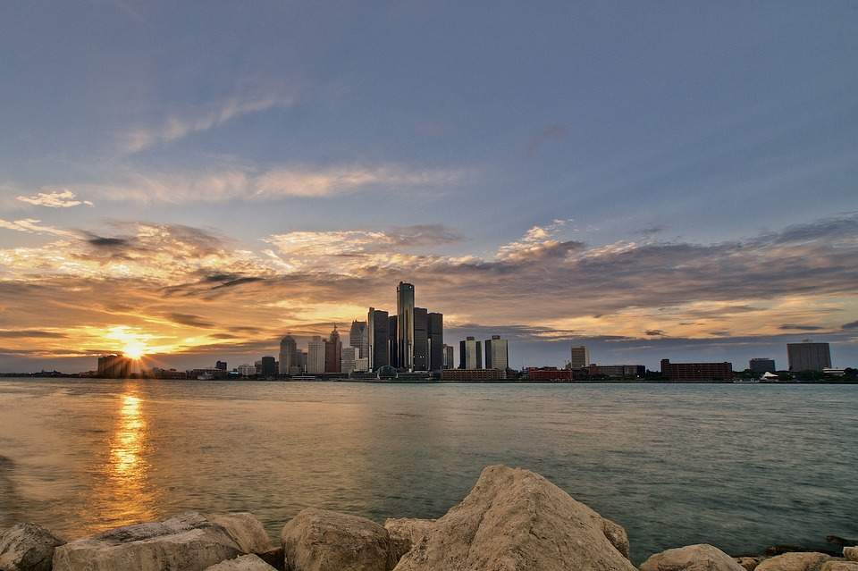Sunset Over Detroit River