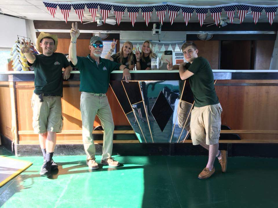 Diamond Jack crew by bar for private charters