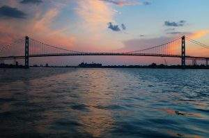 Detroit River Ambassador Bridge at Sunset