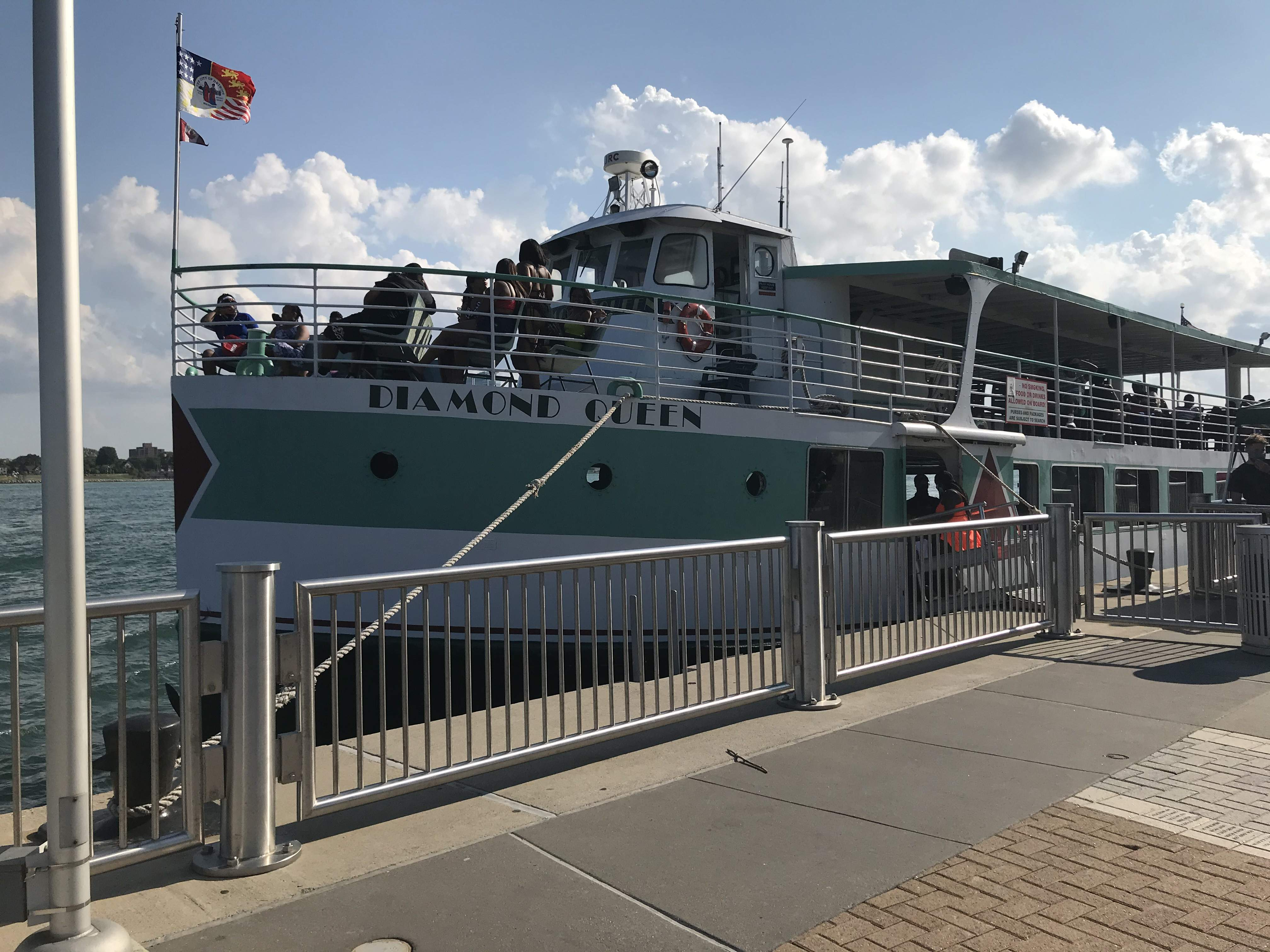 Passengers board the Diamond Queen at Cullen Plaza on the Detroit River